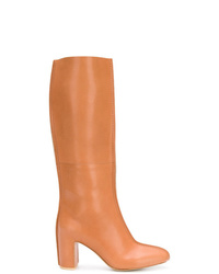 Jil Sander Navy Knee Length Block Heel Boots