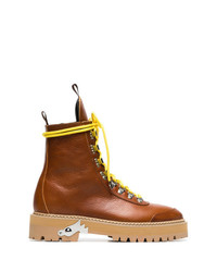 Off-White Camel Lace Up Leather Hiking Boots