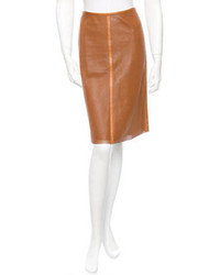 Tobacco Leather Pencil Skirt