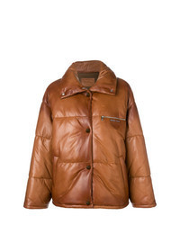 Tobacco Leather Puffer Jacket
