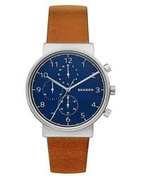 Skagen Ancher Chronograph Leather Strap Watch 40mm