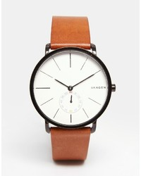Skagen Hagen Leather Watch In Brown Skw6216