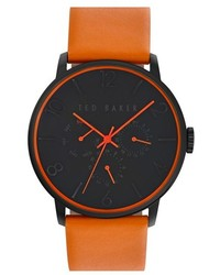 Ted Baker London Multifunction Leather Strap Watch 42mm