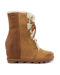 Sorel Joan Of Arctic Wedge Ii Med Waterproof Leather And Suede Ankle Boots