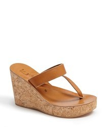 Tobacco Leather Wedge Sandals