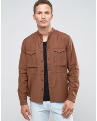 Asos Regular Fit Military Shirt With Grandad Collar In Rust