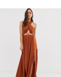 ASOS DESIGN Asos Desgin Tall Maxi Dress With Cross Neck And Cut Out Waist Detail