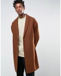 Asos Wool Mix Overcoat With Drop Shoulder In Dark Rust