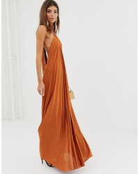 ASOS DESIGN Halter Trapeze Pleated Maxi Dress With Ring Detail