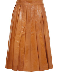 Tobacco Pleated Midi Skirt