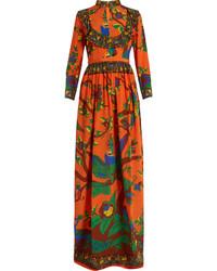 Gucci Jubilee Print Mandarin Collar Silk Gown