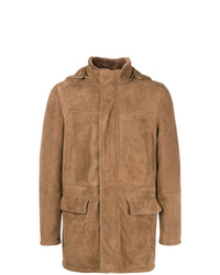 Eleventy Hooded Suede Coat