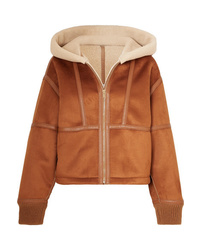 Stella McCartney Hooded Faux Leather Trimmed Faux Shearling And Suede Jacket