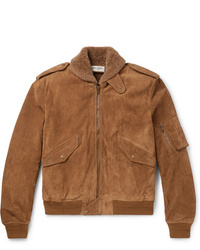 Saint Laurent Shearling Lined Suede Aviator Jacket
