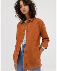 ASOS DESIGN Contrast Stitch Cotton Jacket