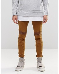 Asos Brand Super Skinny Jeans With Biker Details In Brown