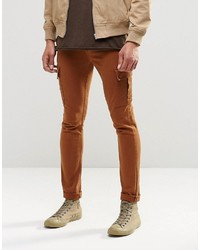 Asos Brand Super Skinny Jeans With Cargo Pockets In Rust
