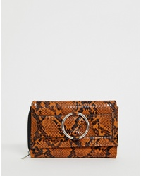 New Look Ring Detail Purse In Dark Yellow Snake