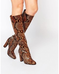 Aldo Etassi Snake Effect Leather Heeled Knee Boots