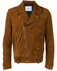 Tobacco Suede Biker Jacket