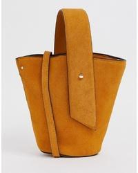 Mango Suede Bucket Bag In Mustard
