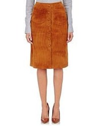 Tobacco Suede Button Skirt