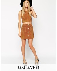 Collection co ord suede a line skirt with button through and pocket detail medium 374475