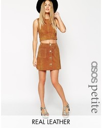 Collection petite button through a line suede skirt medium 374472