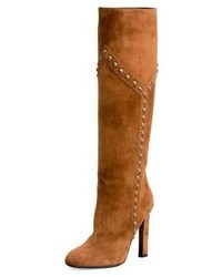 Tobacco Suede Knee High Boots