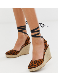 Miss Selfridge Espadrille Wedge Heels With Ankle Ties In Leopard