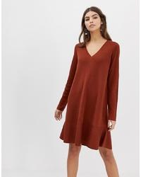 ASOS DESIGN V Neck Dress In With Ruffle Hem