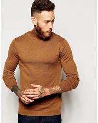 Asos Brand Turtleneck Sweater In Merino Wool Mix