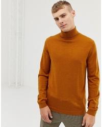 ASOS DESIGN Merino Wool Roll Neck Jumper In Mustard