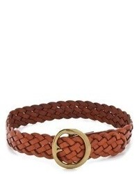 Tobacco Woven Leather Belt