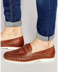 Tobacco Woven Leather Loafers