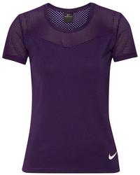 Nike Hypercool Dri Fit Stretch Jersey And Mesh Top Purple