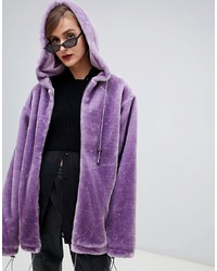 Story Of Lola Oversized Zip Front Hooded Jacket In Faux Fur