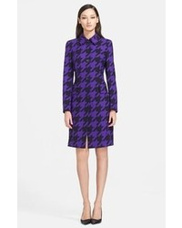 Escada Houndstooth Stretch Wool Coat