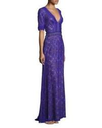 Violet Lace Evening Dress