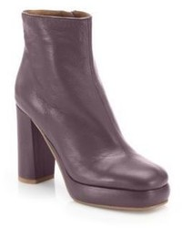 Violet Leather Ankle Boots