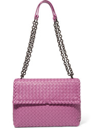 Bottega Veneta Olimpia Medium Intrecciato Leather Shoulder Bag Magenta