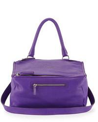 Violet Leather Satchel Bag
