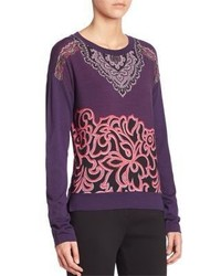 Violet Print Crew-neck Sweater