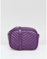 New Look Quilted Cross Body Bag In Purple Niu