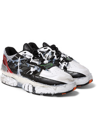 Maison Margiela Fusion Distressed Rubber Trimmed Leather Sneakers