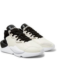 Y-3 Kaiwa Suede Trimmed Leather And Neoprene Sneakers