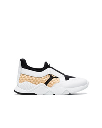 Clergerie White And Black Salvy Leather And Straw Sneakers