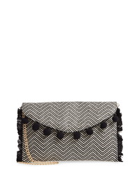White and Black Canvas Clutch