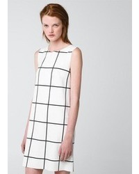 White and Black Check Casual Dress