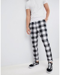 White and Black Check Chinos